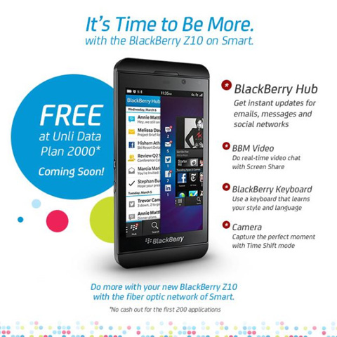 Smart offers BlackBerry Z10 on Data Plan 2000