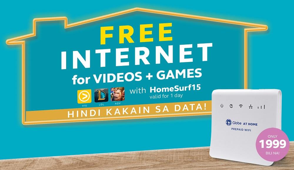 globe offers free internet for videos and games via homesurf